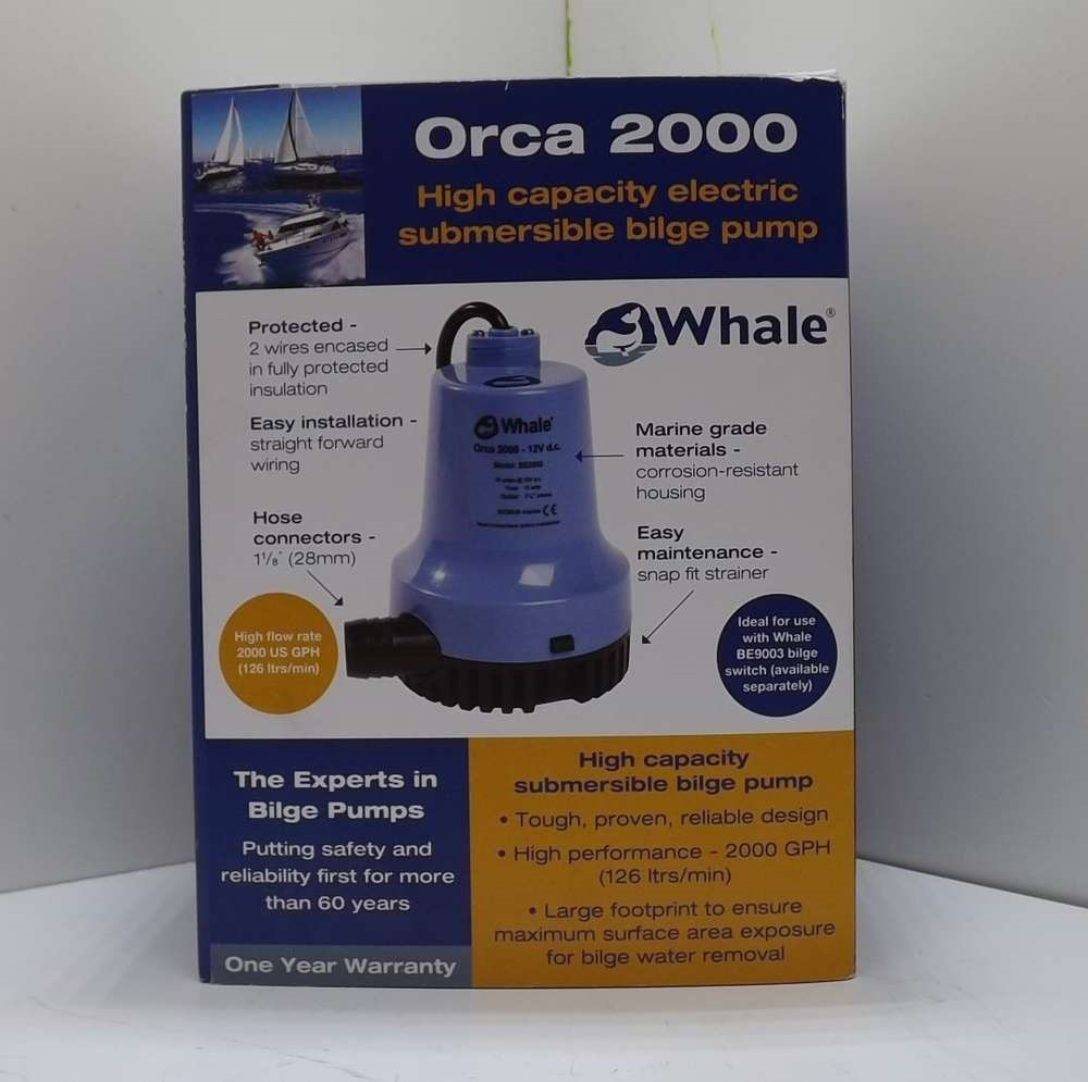 Orca High Capacity 12V 2000GPH Electric Sumersible Bilge Pump BE2002